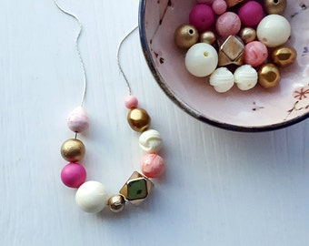 club night necklace - remixed vintage beads - pink gold fuchsia - chunky necklace