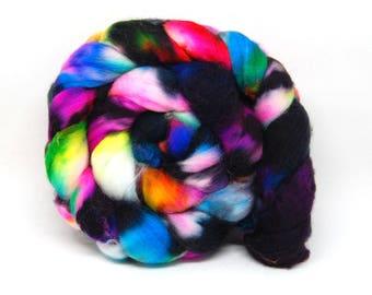 Handpainted Superwash Merino Wool Roving - Aint It Fun - 4 oz  Green Pink Purple