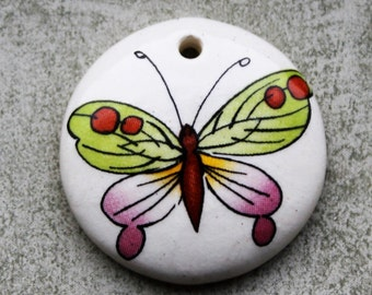 "1"" Green and Pink Butterfly Design - Domed Circle Pendant - Ceramic Focal Pendant"
