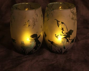 Green Fairy garden stemless wine glasses candle holder