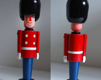 Vintage Wooden Soldier Toy Take Apart Puzzle Stacking Czechoslovakia Wood Man Royal Guard Czech Bojesen Style MCM Mid Century Red Blue White