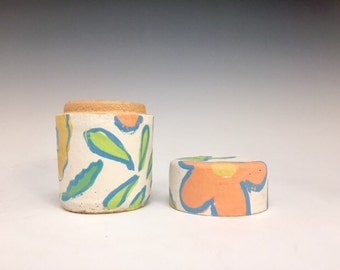 Wildflowers; Small Stoneware Lidded Vessel; Functional Ceramics; Handmade