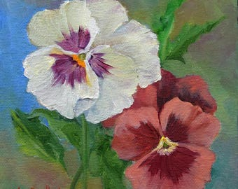 RESERVED for CP,Pansies II,Pansy Still Life Painting, Original Oil Painting On Canvas by Cheri wollenberg