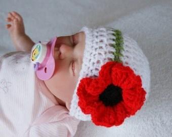 Xmas Baby Girl Poppy Flower Hat, Newborn upto  - 9 Months Sizes, Beanie, Crochet, Photo Prop Hat