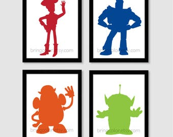Toy Story Silhouette Set of 4 Art Prints 8X10 for kids bedroom or nursery decor