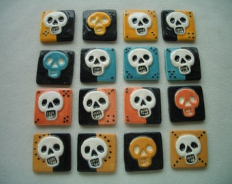 COO - 2-Toned WICKED SKULL Tiles - Ceramic Mosaic Tiles