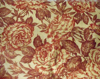 Home Dec fabric by the yard Roses on beige linen like texture