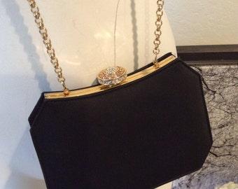 Vintage small black fabric evening bag, shoulder or clutch dressy purse, ornate crystal clasp formal handbag, black boxy evening bag