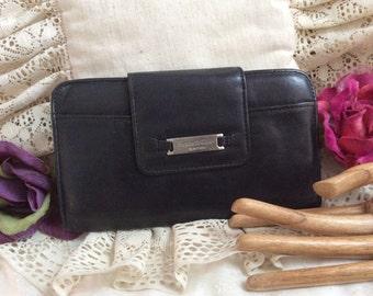 Vintage soft black leather wallet clutch. Kenneth Cole black wallet, multi pocket organizer wallet clutch