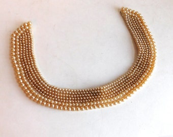 Vintage Faux Pearl Beaded Collar Necklace - Mid-Century 1950s Fashion - Hand-Stitched Satin Back - Pearls in Excellent Condition - Ivory