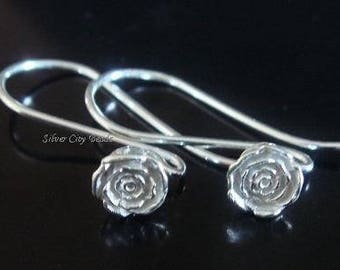 20 pairs, RESERVED, EARWIRES, Bali Sterling Silver Rose Floral Earwires, OXIDIZED, - 26x5.5 mm,