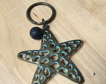 Patina Pewter sea star, pewter starfish keychain with lava bead for essential oils, key ring, oils keychain, starfish key ring, key chain
