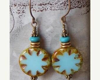 Sale Bohemian Czech Glass Earrings Boho Aqua Turquoise Brass Star Dangle Drop Rustic Picasso Earrings