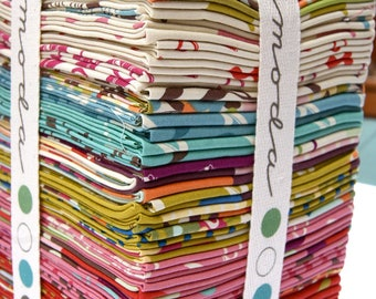RARE Wonderland Out of Print Fat Quarter Bundle Momo Modern Florals Scissors Dots Contemporary Trees Children GreenPinkAqua piecesofpine