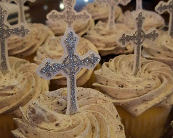 Chirstening Decorations| Baptism Cross Cupcake Toppers| First Communion Ideas| Religious Decorations|