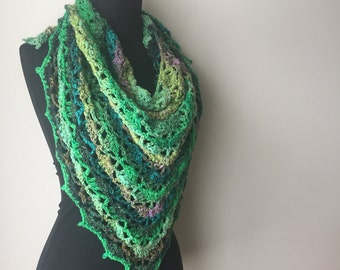 boho scarf A Bit of Lace Scarf Shawl triangle scarf greens purples Cotton Silk Wool Blend Yarn Ready to Ship