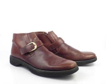 Leather Ankle Boots 1980s Nunn Bush Brown Euro Beatle Buckle men's size 10 A