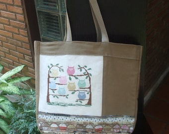 The Owls Cross Stitch Cotton Canvas Tote Bag in Mix and Match style/ Owl tote bag