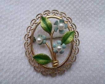 vintage Krementz enamel & pearl Forget me Not blue floral posey gold tone filigree BROOCH