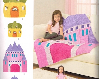 Castle Cottage Blanket Rag Throw Quilt Rug Simplicity 8033 Sewing Pattern Children Doll Rag Rug New Uncut Factory Folded