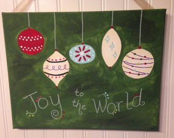 Joy to the World Canvas painting Christmas ornament Original folk art Home decor Artwork 11 x 14 Hand painted Holiday hostess gift present