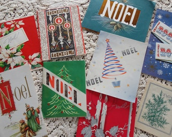 NOEL Holiday Wishes Beautiful Graphics in Vintage Christmas Card Lot No 984 Total of 9