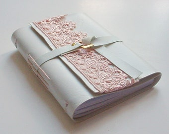 Faux Leather White Journal - Peach Lace- Gift Idea