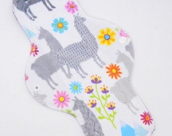 "12"" Moderate Flow Reusable Cloth Menstrual Pad ~ Made w/ Llamas Minky, Windpro ~ Day Pad, MotherMoonPads Cloth Pad"