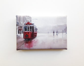 the red tram, gentle rain city scene, mini canvas art print