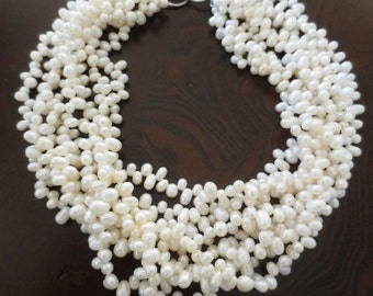 "Multi Strand Pearl Necklace Off White 16"" Long Coastal Bridal Holiday Genuine Jewelry"