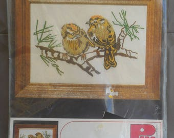 Vintage Stitchery Kit for Framing - Kinglets