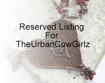 Reserved Listing For TheUrbanCowGirlz, Red Heart Antique Copper Necklace, Valentines Day, Love, Gift For Her, Women's Necklace, Canada