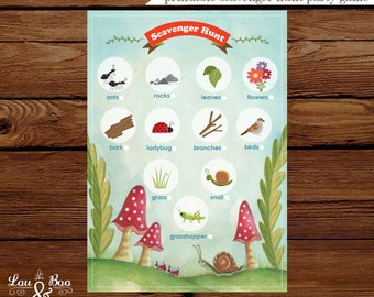 Printable Scavenger hunt Party Game - insects, bugs, nature