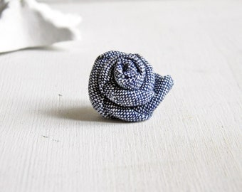 Men lapel pin. Linen lapel flower. Men boutonniere. Men accessories. Rose boutonniere. Denim blue
