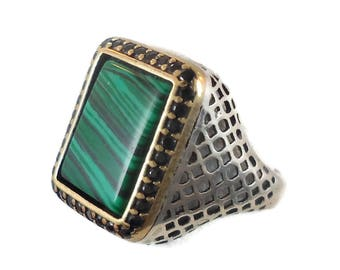 RESERVED - #3 Malachite Ring, Sterling Silver, Vintage, Mens Ring, Green Stone, Black Stones, Middle Eastern,Unique, Two Toned, Size 10 1/2
