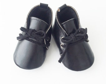 Black Vegan Leather Booties, Baby Boy Shoes, Black Baby Booties, Soft Sole Shoes, Baby Crib Shoes, Baby Lace Up Shoes, Dressy Baby Shoes