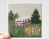 RESERVED FOR HEATHER camping trip / original small painting