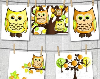 Set of 5 Yellow Orange Owls Bedroom 8x10 Art Prints AP0019