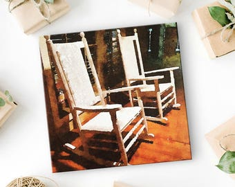 Front Porch Rocking Chairs - Canvas Art Print - Southern Art - Gift for Girlfriend or Best Friend - Southern Charm - Southern Decor - 8x8
