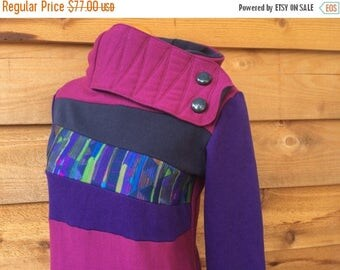 15% OFF SALE Hoodie Sweatshirt Sweater Handmade Recycled Upcycled One of a Kind CANVAS Ladies Medium - Colorful Artistic Pockets Purple