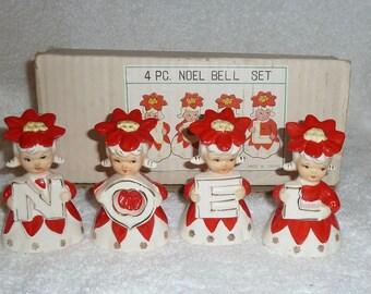 Vintage Noel Poinsettia Bells Girls Lipper Mann Christmas w/box Figurine Japan 1950s Napco Lefton