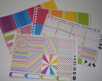 Rainbow Weekly Sticker Kit / Great for your vertical Erin Condren Life Planner