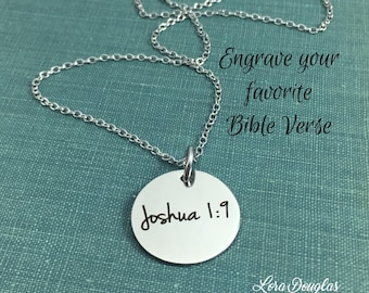 Bible Verse Pendant, Bible Verse Jewelry, Sterling Silver Jewelry, Stainless Steel Jewelry, Engraved Jewelry, Silver Disc, 3/4 inch