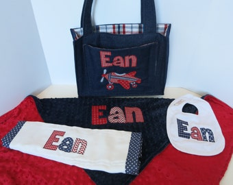 Personalized baby gift - diaper bag, blanket, bib & burp - minky blanket - denim bag - applique baby shower gift - name bib and burp -