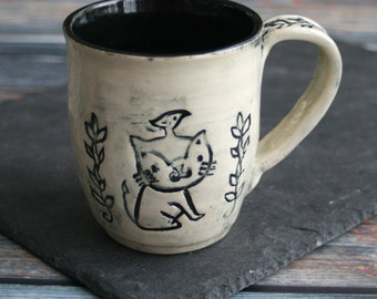 13 oz. Coffee Mug in Natural White and Black Glaze with Cat Design Pottery Mug Made in USA Ready to Ship