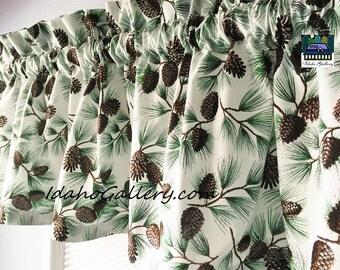 Cabin Curtain Pine Cone Valance Glittered 11 x 41 Kitchen Curtain Brown Green White Nature Decor Cabin Decor Home Decor