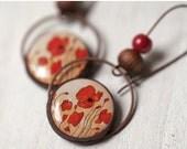 Red Poppy earrings - Red dangle earrings - Long red earrings - Red floral jewelry - Red flower earrings - Bridesmaids jewelry  (E060)