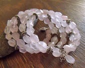 "Natural Rose Quartz Gemstone Wrap Bracelet with Sterling Silver Accents, Bohemian Spring Jewelry ""I Blushed"""