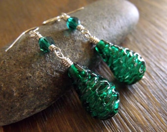 "Vintage Deep Emerald Spun Glass Beaded Earrings with Swarovski Crystals ""Mythic Emerald Glass"""