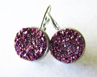 Purple Druzy Drop Earrings , Small Sparkly Earrings for Women | Gift Ideas for Teens and Girls
